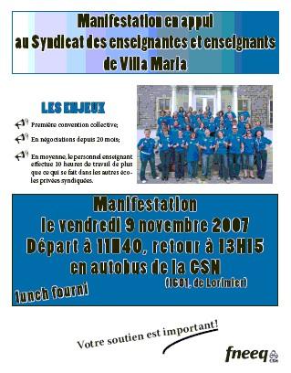Tract Villa Maria - manif vendredi 9 novembre